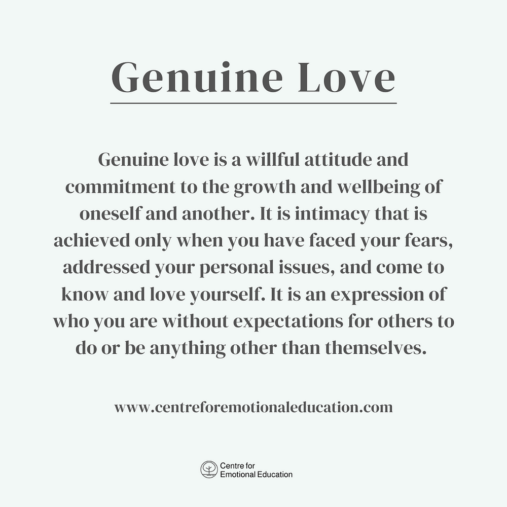 Genuine Love Definition by Centre for Emotional Education